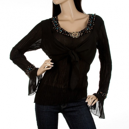 107 TRENDY TUNIKA BLUSE TOP SHIRT SPITZE A-LINIE PULLOVER KASCHIERWUNDER 40 42
